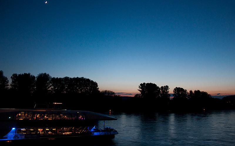 Begleitung vom Mond in Höhe Linz am Rhein