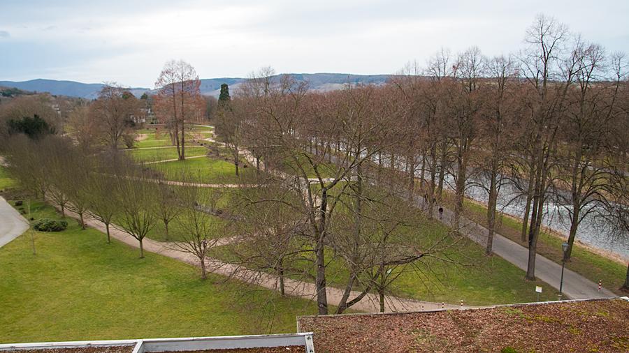 Blick in den Dahliengarten und auf die Ahr vom Balkon aus