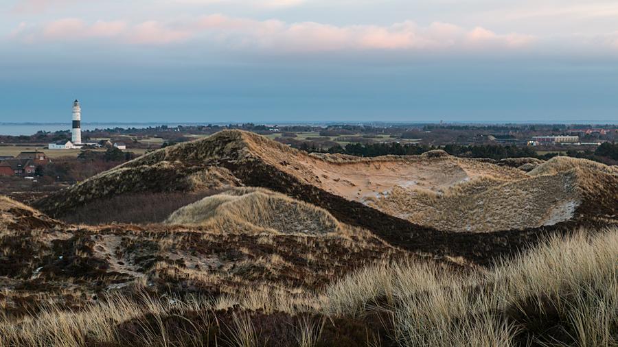Blick von der Uwe-Düne zum Leuchtturm Kampen