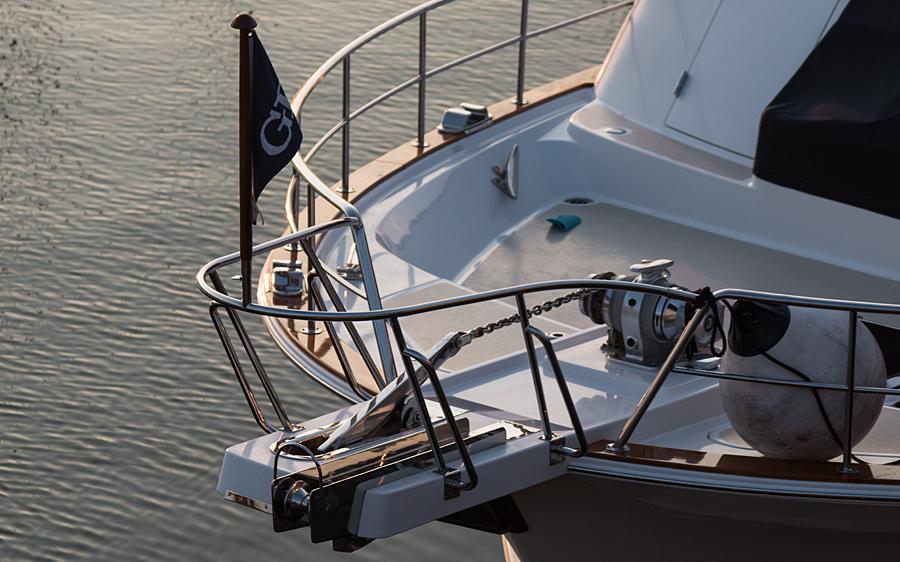 "Bugdetail der Yacht ""Earl Grey"""