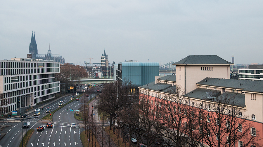 Aussicht von der Dachterrasse im sechsten Stock