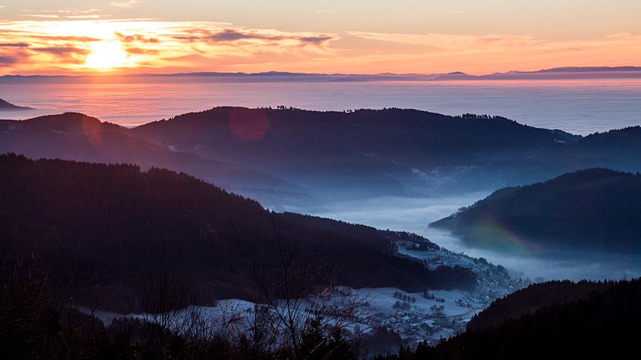 Sonnenuntergang über Seebach